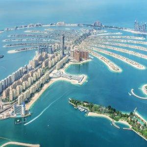 """UAE.Palm_Jumeirah Die künslich angelegte Insel """"Palm Jumeirah"""" in den Vereinigten Arabischen Emiraten"""