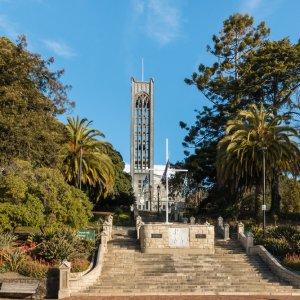 NZ.Nelson_Christ_Church_Kathedrale Der Blick auf die mit einer großen Freitreppe versehene Christ Church Kathedrale.