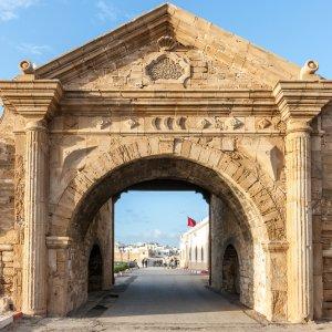 MA.Essaouira.Tor Historisches, Steinernes Eingangstor zur Medina von Essaouira, Marokko