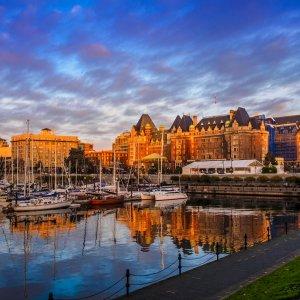CA.Victoria Kleine Boote im Hafen von Victoria, Kanada
