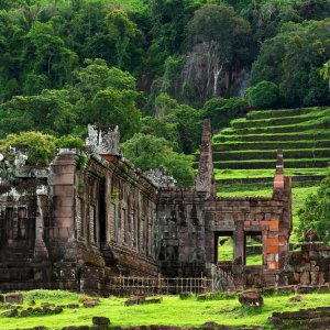 LA.Pakse_Wat_Phou_Champasak Der Blick auf die Ruinen des What Phou Champasak in der Nähe der Stadt Pakse, Laos.