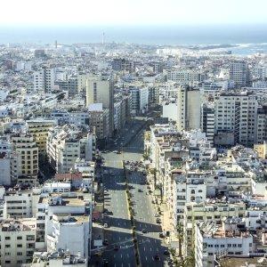 MA.Casablanca.Straßen Luftaufnahme der Straßen von Casablanca, Marokko