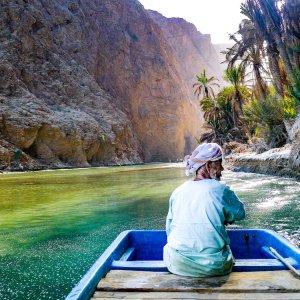 OM.Wadi Shab 2 Boodsmann im Wadi Shab im Oman.