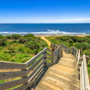 AU.Phillip Island.Beach Path Pfad entlang des Strandes auf Phillip Island.