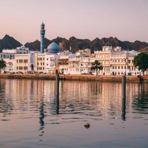 OM.Muscat.Kuestenstraße Wunderschöne Landschaft entlang der Küstenstraße in Muscat, Oman