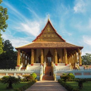 LA.Vientiane_Hor_Pha_Keo_Museum Der Blick auf den kunstvollen Hor Pha Keo Tempel in Vientiane, Laos.