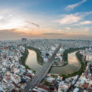 VN.Saigon Der Blick von oben auf die Stadt Ho-Chi-Minh-City.