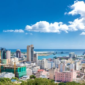 MU.Nordkueste.Port Louis Blick auf die Skyline von Port Louis der Hauptstadt von Mauritius