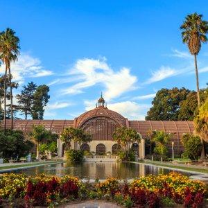 US.AR.San Diego Balboa Park Blick auf ein Gebäude im Balboa Park