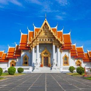 TH.Bangkok Wat Benchamabophit Blick auf den Wat Benchamabophit Tempel bei Tag