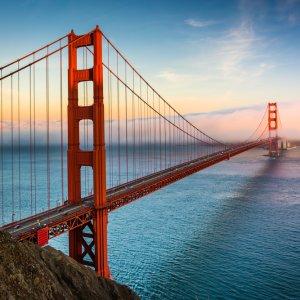 US.AR.San Francisco Bridge Blick auf die Golden Gate Bridge bei Sonnenuntergang