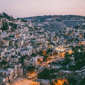 JO.Amman Stadtbild von Amman in der Dämmerung