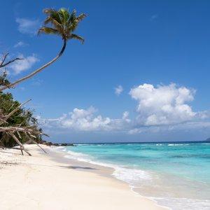 """SC.Silhouette.Tuerkises_Wasser Weißer Sandstrand mit türkisblauem Wasser auf der Insel """"Silhouette Island"""", Seychellen"""