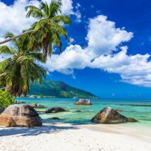 """SC.Mahe.Bucht Die Bucht """"Baie Beau Vallon"""" mit feinem weißen Sandstrand, Palmen und Felsen auf  Mahé, Seychellen"""