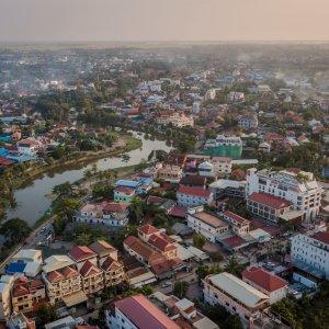 KH.Siem_Reap Der Blick von oben auf die Stadt Siem Reap, Kambodscha.