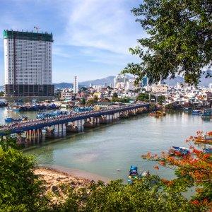 """VN.Po_Nagar_Ausblick Aussicht auf die Stadt  Nha Trang vom Tempelkomplex """"Po Nagar"""""""
