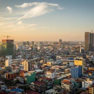 KH.Phnom_Penh Der Blick über die Skyline von Phnom Penh, Kambodscha.