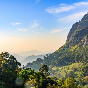 LK.Ella.Landschaft Die wunderschöne weitläufige Berglandschaft von Ella, Sri Lanka