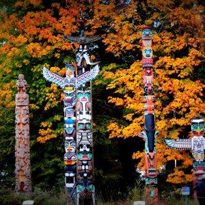 Kanada Vancouver Stanley Park Totem Poles Totempfahl