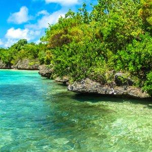 """MU.Suedkueste.Ile_aux_Aigrettes malerische Kulisse mit glasklarem Wasser und grüner Vegetation rund um die kleine Koralleninsel """"Ile aux Aigrettes"""" an der Südküste von Mauritius"""