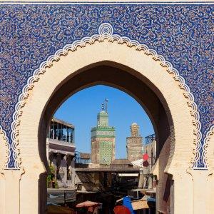 "MA.Fes.Blue Gate Das Eingangstor zur Medina in Fés das sogenannte ""Blue Gate"""