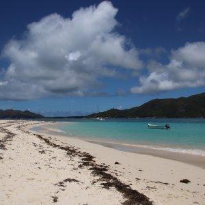 SC.Curieuse_Island_Strand Der Blick auf einen endlosen Sandstrand mit türkisblauem Meer.