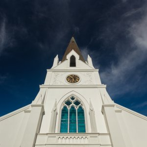 """ZA.Stellenbosch.Moederkerk Außenansicht der Kirche """"Moederkerk"""" in Stellenbosch, Südafrika"""