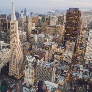US.AR.San Francisco Stadt Blick auf die Stadt aus der Vogelperspektive