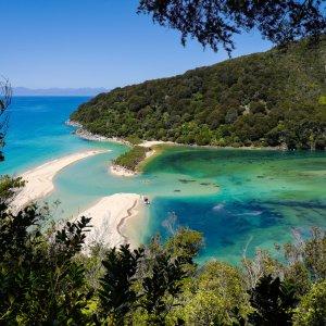 NZ.Nelson Abel-Tasman-Nationalpark Der Blick auf die sandige Bucht mit türkisblauen Wasser im grünen Abel-Tasman-Nationalpark.