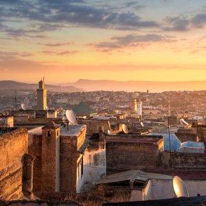 MA.Fes.Medina Ansicht der alten Medina in Fés bei Sonnenuntergang