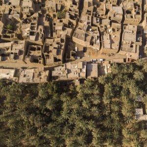 """OM.Al_Hamra Die alte Stadt """"Al Hamra"""" im Oman aus der Vogelperspektive"""