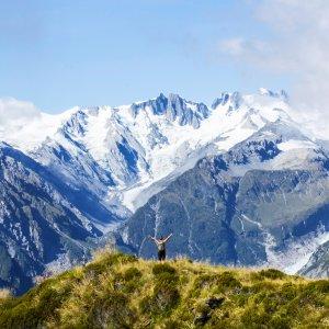NZ.Fox Gletscher Ausblick auf den Fox Gletscher und Franz-Josef-Gletscher in Neuseeland.