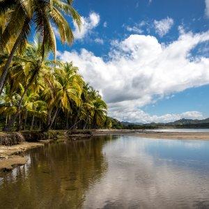 CR.Playa_Samara Der Blick auf Playa Samara an einem schönen Tag mit blauem Himmel und leerem Strand.