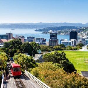 NZ.Wellington_Cable_Car Der Blick auf die rote Wellington Cable Car und die Skyline von Wellington im Hintergrund.