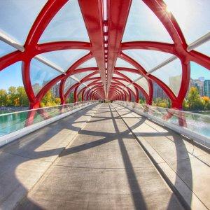 "CA.Calgary.Peace_Bridge Im inneren der gläsernen ""Peace Bridge"" in Calgary, Kanada"