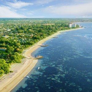 Bali.Sanur Strandabschnitt von Bali aus der Luft fotografiert