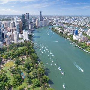 AU.Brisbane Der Blick auf die Stadt Brisbane.