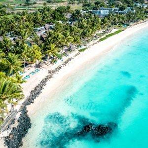 MU.Belle Mare Luftaufnahme Luftaufnahme der Küstenlandschaft von Belle Mare, Mauritius