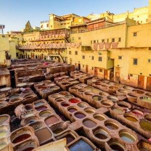 MA.Fes.Gerberei Luftansicht auf eine traditionelle Gerberei und Färberei in Fès, Marokko
