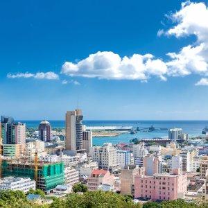 MU.Port Louis Die Skyline von Port Louis der Hauptstadt von Mauritius