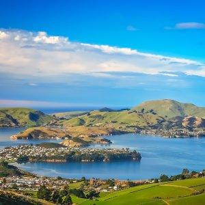 NZ.Dunedin Der Blick über die Stadt Dunedin.