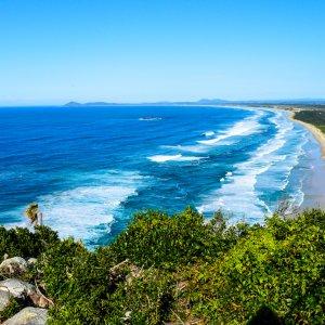 AU.Fraser Island.Indian Head Blick auf den Strand vom Aussichtspunkt auf dem Indian Head auf Fraser Island.