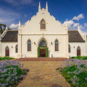 """ZA.Franschhoek.Kirche Historische Kirche """"niederländisch reformierte Kirche"""" in Franschhoek"""