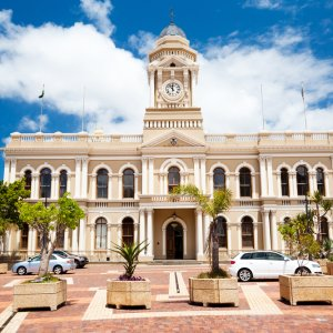 ZA.Port Elizabeth_City_Hall Das Gebäude des Rathauses in Port Elizabeth, Südafrika