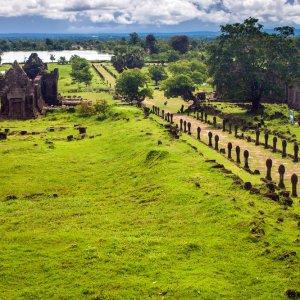 LA.Champasak_Wat_Phou Der Blick auf die Ruinen des Wat Phou Champasak in der Nähe der Stadt Champasak, Laos.