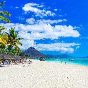 MA.Flic en Flac tuerkises Wasser Weitläufiger Strand von Flic en Flac mit glasklarem Wasser, saftig grünen Palmen und vielen kleinen Strandschirmchen