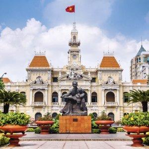VN.Saigon_Hotel_de_Ville Der Blick auf das Rathaus von Ho-Chi-Minh-City.
