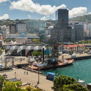 NZ.Wellington_Waterfront Der Blick auf die futuristische Waterfront von Wellington.