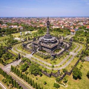 "Bali.Denpasar Luftaufnahme vom Denkmal ""Bajra Sandhi Monument"" in Denpasar, Bali"