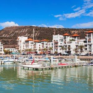 MA.Agadir.Hafen Boote im Hafen vor Agadir, Marokko